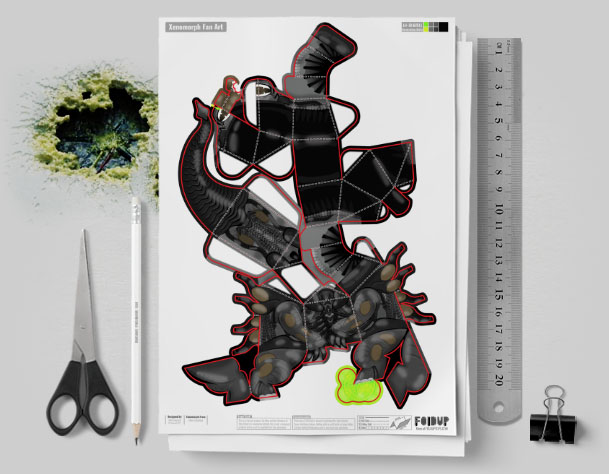 MU - Xenomorph Alien Fan Art Paper Toy Craft Image - Mockup