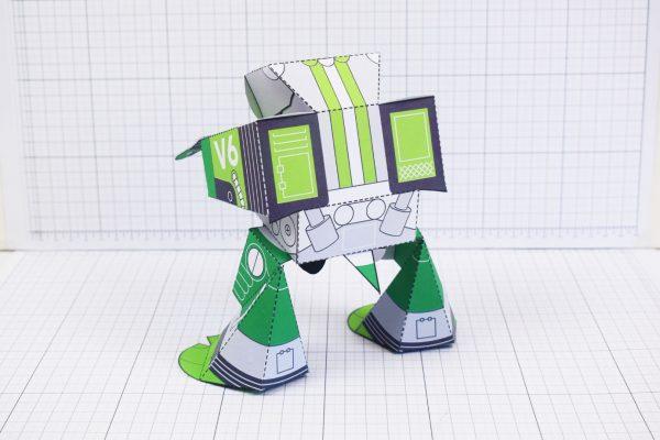 PTI February Patreon paper craft robot stalker v6 image - back