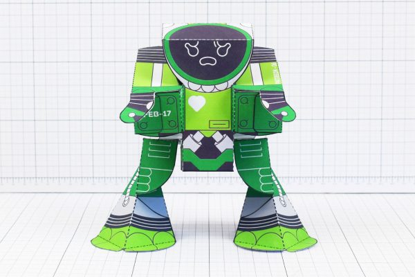 PTI February Patreon paper craft robot stalker v6 image - front