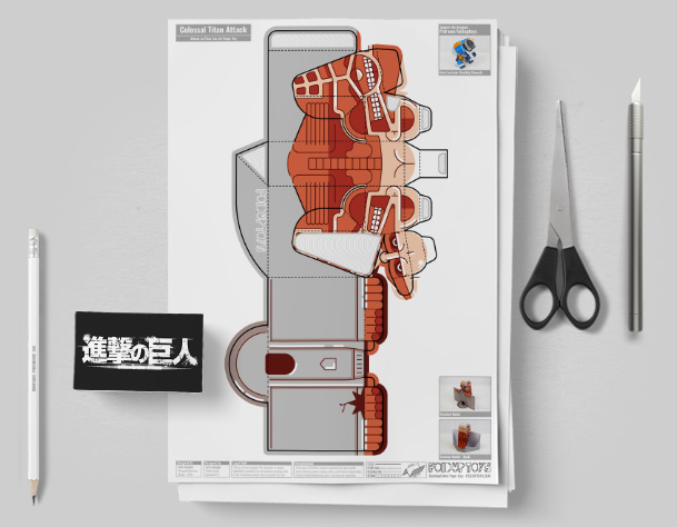 MU - Colossal Titan - Attach On Titan Paper Toy Craft Model Image - Mockup