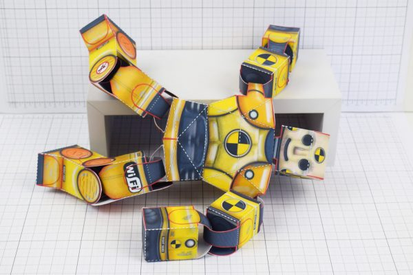 PTI Crash Test Dummy Paper Toy Model Image - Fallen 1