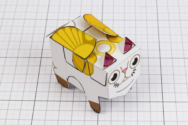 PTI- Flying Cat Paper Toy Image - Closed