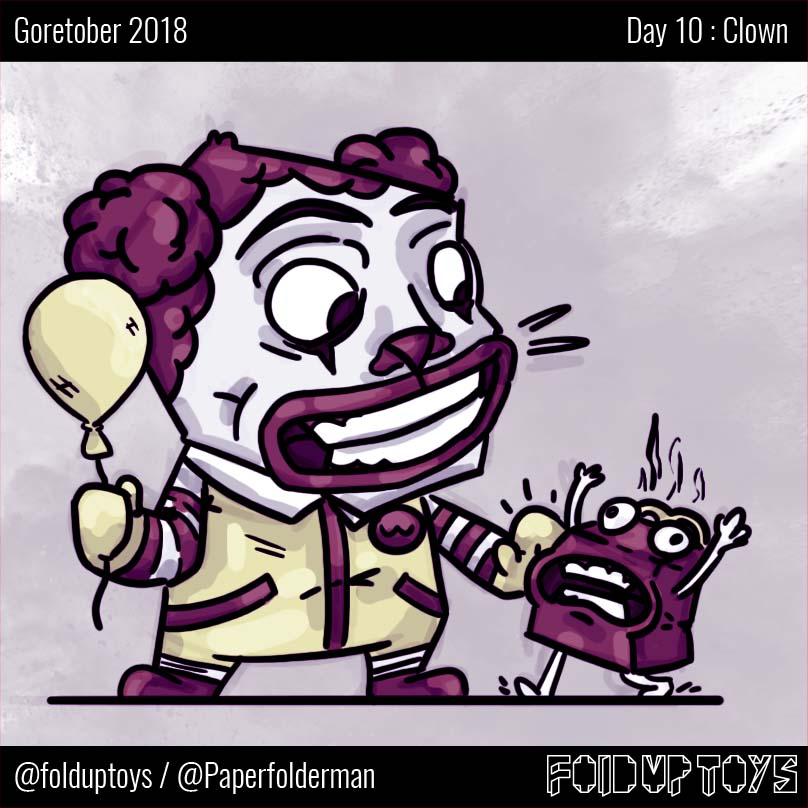 Alex Gwynne - Fold Up Toys - Day 10 Goretober Clown