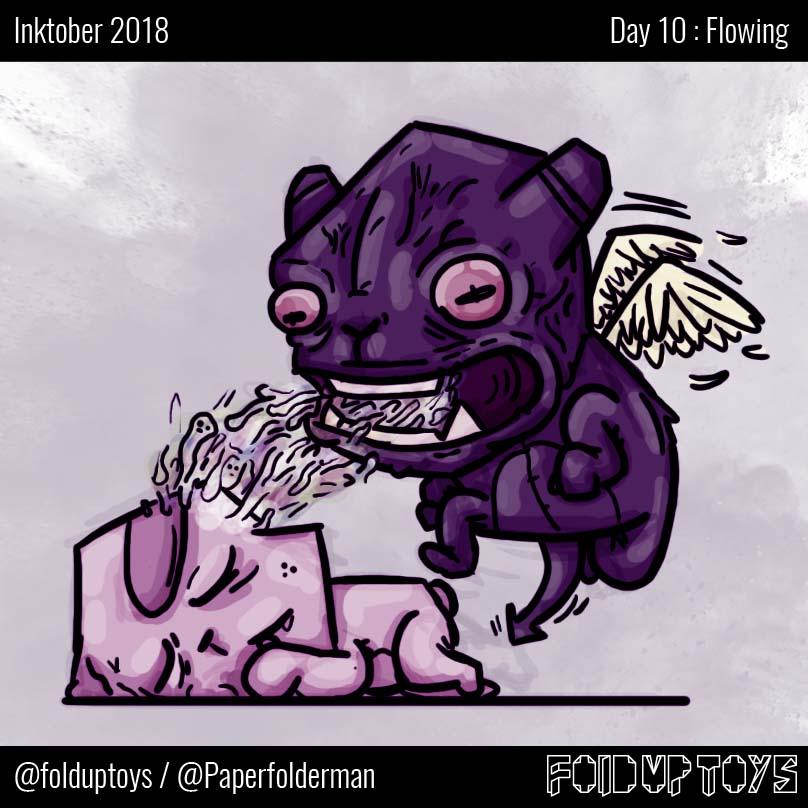 Alex Gwynne - Fold Up Toys - Day 10 Inktober Flowing