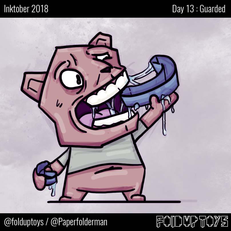 Alex Gwynne - Fold Up Toys - Day 13 Inktober Guarded
