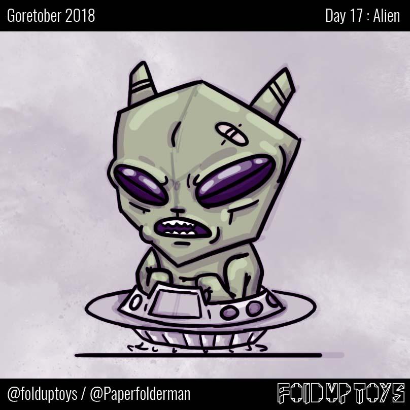 Alex Gwynne - Fold Up Toys - Day 17 Goretober Alien