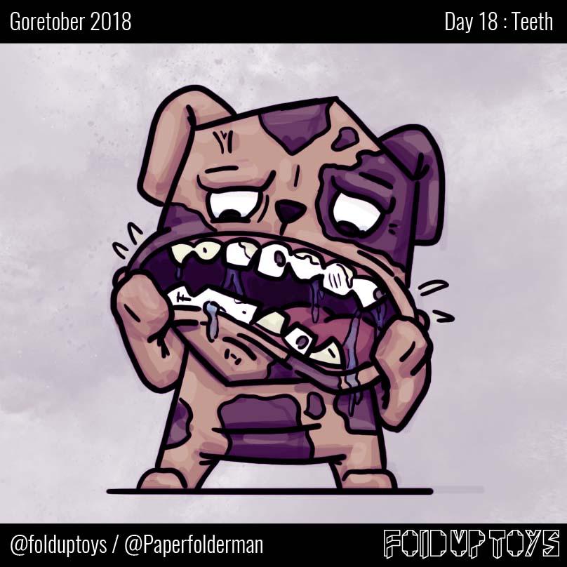 Alex Gwynne - Fold Up Toys - Day 18 Goretober Teeth