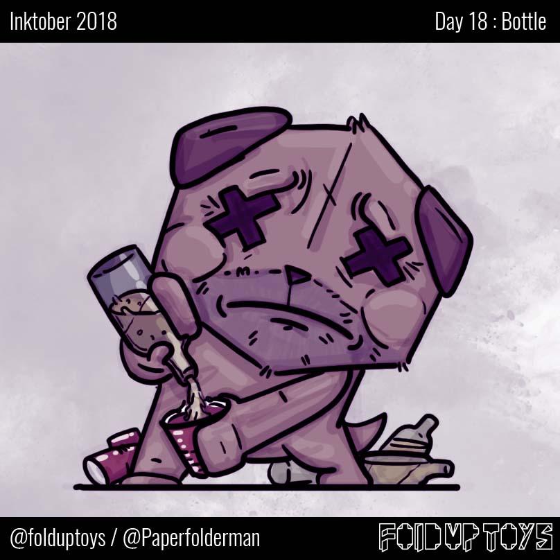 Alex Gwynne - Fold Up Toys - Day 18 Inktober Bottle