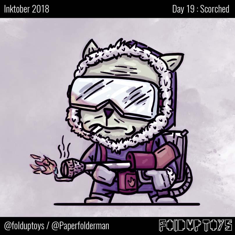 Alex Gwynne - Fold Up Toys - Day 19 Inktober Scorched