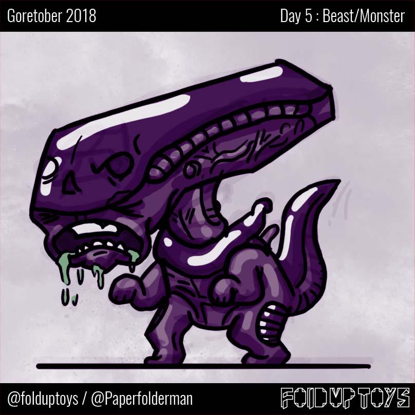 Alex Gwynne - Fold Up Toys - Day 5 Goretober Beast-Monster
