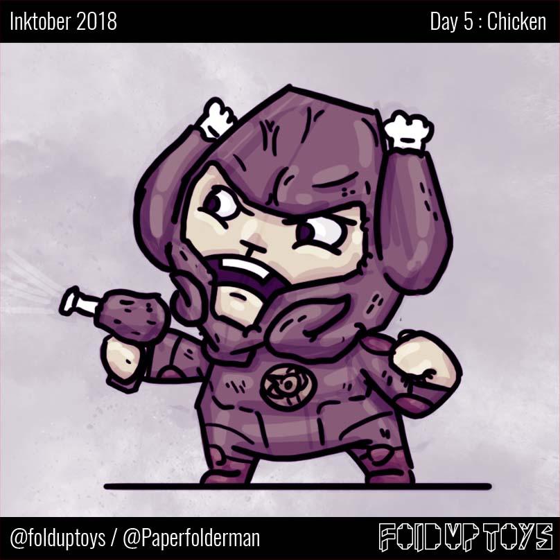 Alex Gwynne - Fold Up Toys - Day 5 Inktober Chicken