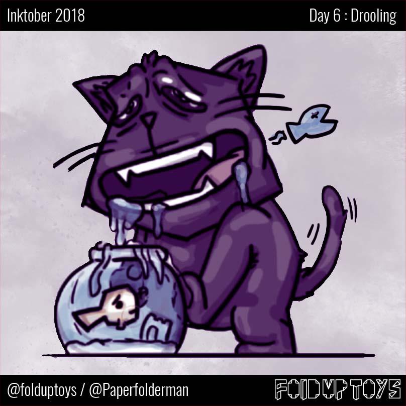 Alex Gwynne - Fold Up Toys - Day 6 Inktober Drooling