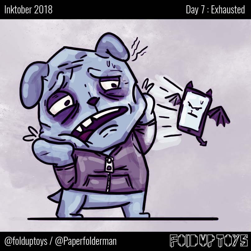 Alex Gwynne - Fold Up Toys - Day 7 Inktober Exhausted