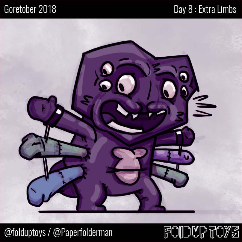 Alex Gwynne - Fold Up Toys - Day 8 Goretober Extra Limbs
