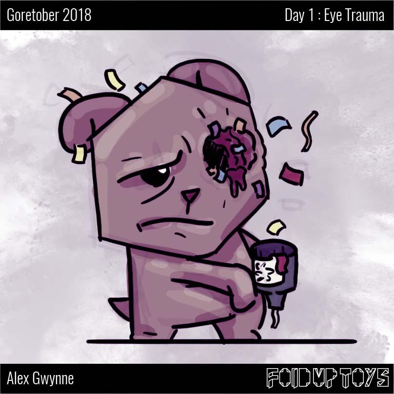 Alex Gwynne - Fold Up Toys - Goretober Day 1 Eye Trauma