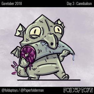 Alex Gwynne - Fold Up Toys - Goretober Day 3 Cannibalism