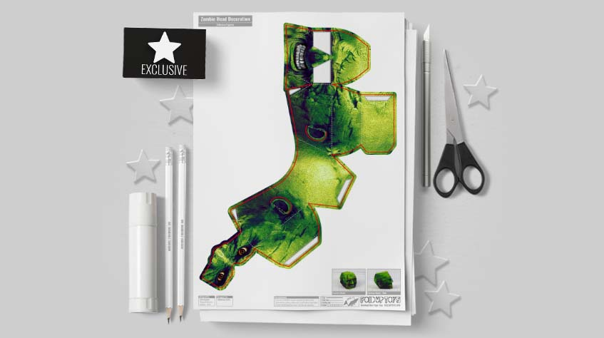 MU - Halloween Zombie Head Decoration Paper Toy Simple - Mockup