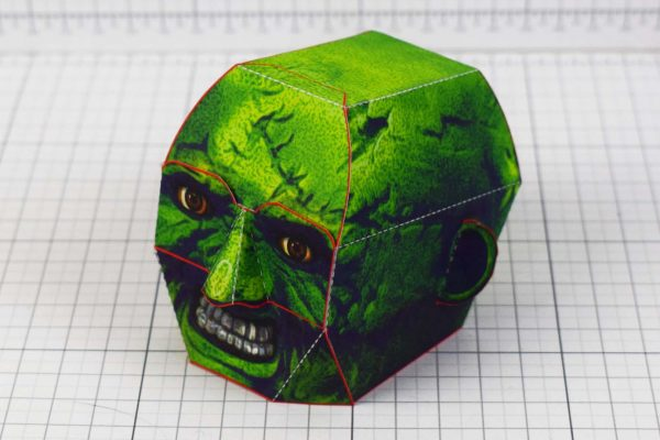 PTI - Halloween Zombie Head Decoration Paper Toy Simple - Side