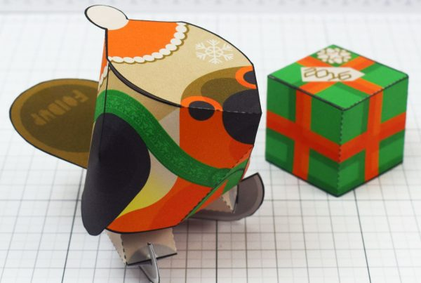 PTI - Christmas Paper Toy Craft Decoration - Skate Robin - 2020
