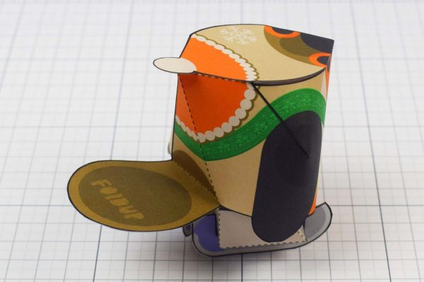 PTI - Christmas Paper Toy Craft Decoration - Skate Robin - Back