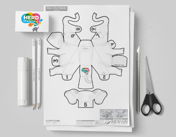 MU - Herd Elephant Blank Paper Toy - Image Mockup