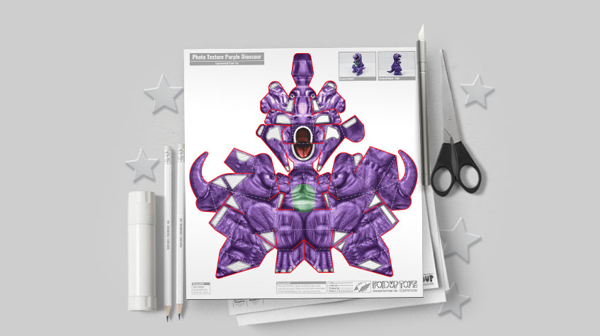 MU - Purple Dinosaur Paper Toy Project - Image Mockup