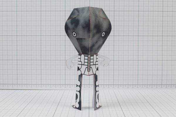 PTI - 3 Eyed Bear Alien Custom Papertoy - Image Back