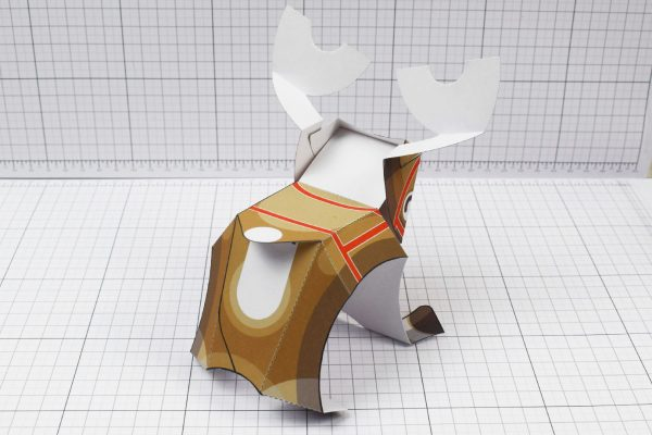 PTI - Christmas Xmas Paper Toy Decoration Rudope Reindeer - Image Back