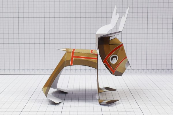 PTI - Christmas Xmas Paper Toy Decoration Rudope Reindeer - Image Side