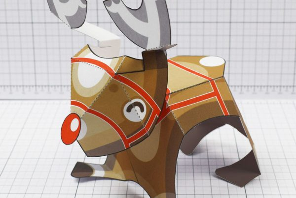 PTI - Christmas Xmas Paper Toy Decoration Rudope Reindeer - Square