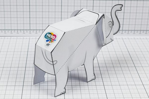 PTI - Herd Elephant Blank Paper Toy - Image Back