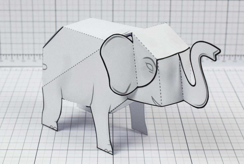 PTI - Herd Elephant Blank Paper Toy - Image Main