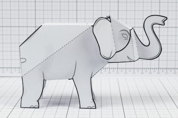 PTI - Herd Elephant Blank Paper Toy - Image Side