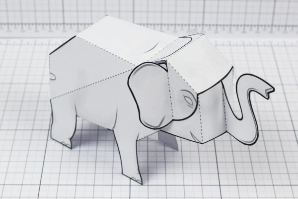 PTI - Herd Elephant Blank Paper Toy - Image Top