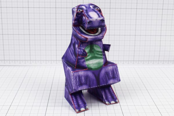 PTI - Purple Dinosaur Paper Toy Project - Image Angle