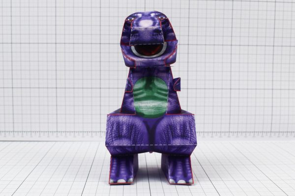 PTI - Purple Dinosaur Paper Toy Project - Image Front