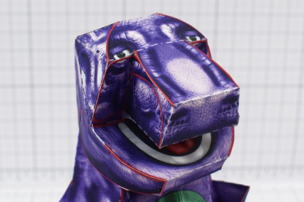 PTI - Purple Dinosaur Paper Toy Project - Image Head