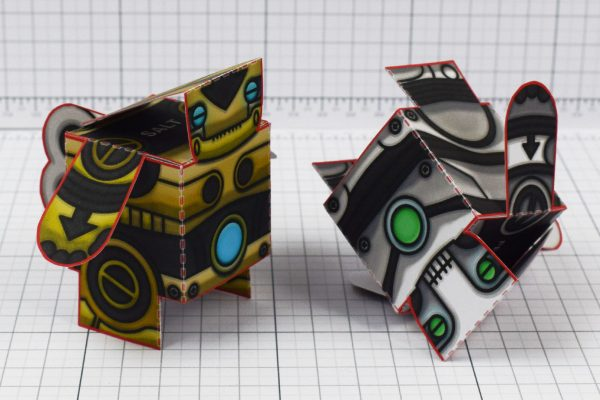PTI - Salt and Pepper paper toy robots - Image Fall