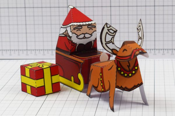 PTI - Twinkl Christmas - Santa Sleigh and Reindeer Promotional Card Paper Toy - Image Main