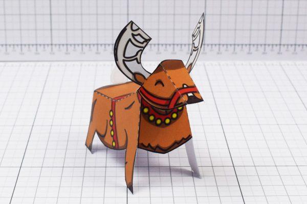 PTI - Twinkl Christmas - Santa Sleigh and Reindeer Promotional Card Paper Toy - Image Reindeer