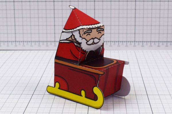 PTI - Twinkl Christmas - Santa Sleigh and Reindeer Promotional Card Paper Toy - Image Santa
