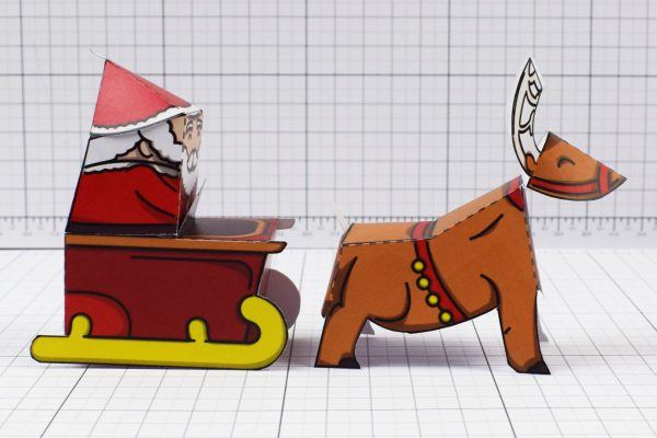 PTI - Twinkl Christmas - Santa Sleigh and Reindeer Promotional Card Paper Toy - Image Side