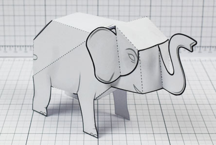 THU - Herd Elephant Blank Paper Toy - Image Thumbnail