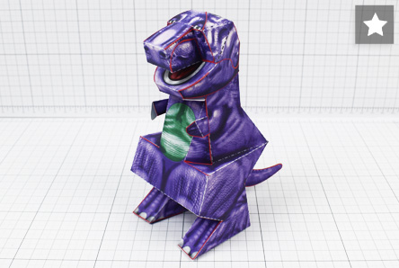 THU - Purple Dinosaur Paper Toy Project - Image Thumbnail Star