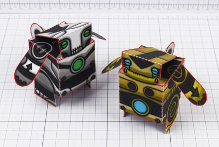 THU - Salt and Pepper paper toy robots - Image Thumbnail
