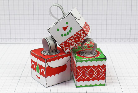 THU - Twinkl Christmas - Box Baubles Papercraft Decoration - Image Thumbnail