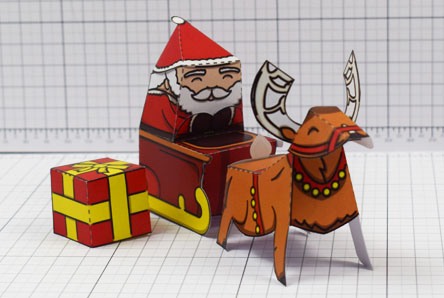 THU - Twinkl Christmas - Santa Sleigh and Reindeer Promotional Card Paper Toy - Image Thumbnail