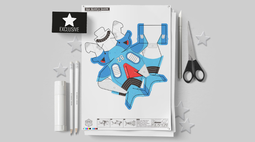 MU- Sea Search Shark Robot Paper Toy Craft Model - Image Mockup