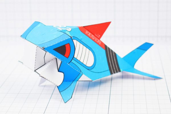 PTI- Sea Search Shark Robot Paper Toy Craft Model - Image Angle
