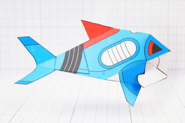 PTI- Sea Search Shark Robot Paper Toy Craft Model - Image Side